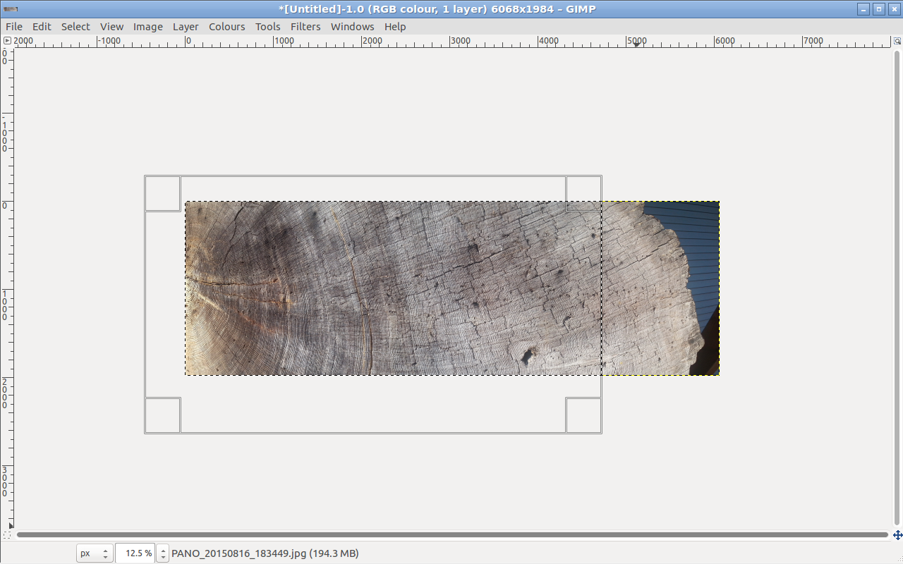 Working on the tree in GIMP by taking regions
