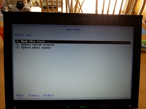 Thinkpad screen during BIOS upgrade